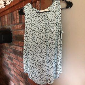 Loft print button-up sleeveless blouse